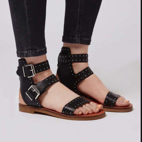 Flower Studded Buckle Sandals Black Sz
